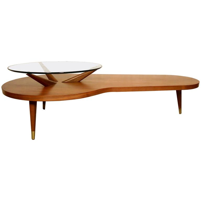 Cb2 Mid Century Coffee Table: Elegant Mid-Century Modern Two-Tier Coffee Table For Sale