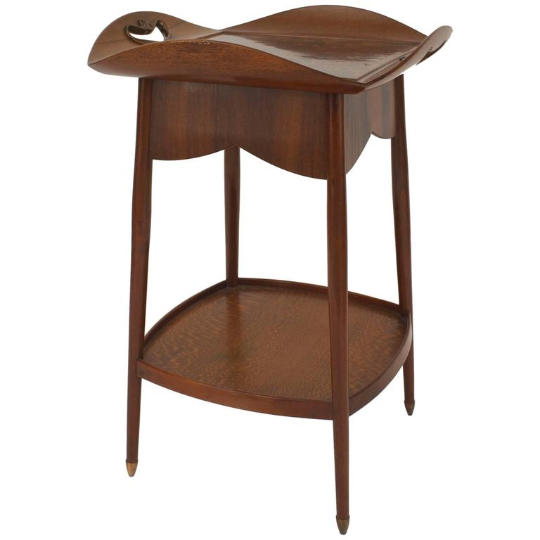 French Art Nouveau End Table with Tray Top Design