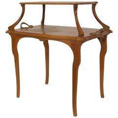 French Art Nouveau Walnut Rectangular Two-Tier Table by Majorelle