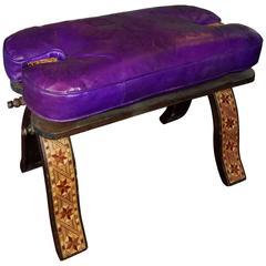 Handmade Moroccan Camel Saddle Bright Purple Leather Cushion