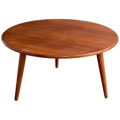 Round Teak Coffee Table by Hans Wegner for Andreas Tuck