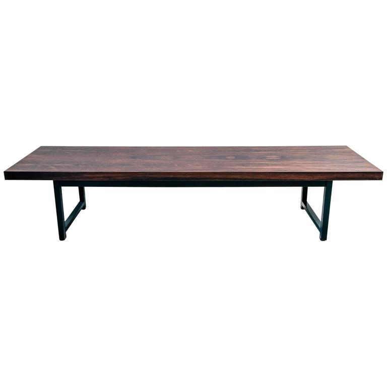 Rosewood and Black Lacquer Coffee Table by Milo Baughman for Thayer Coggin