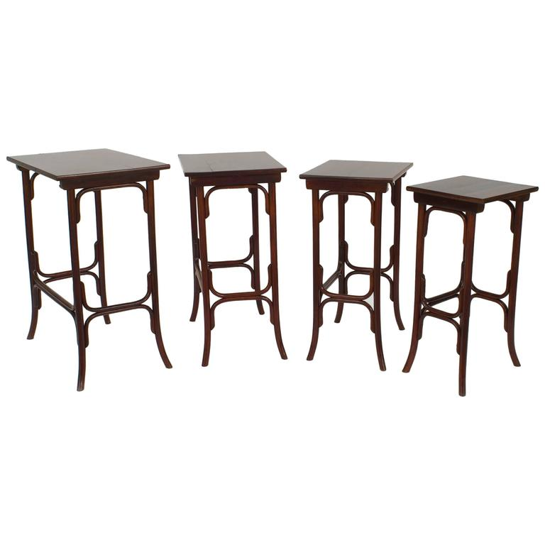 Beechwood Furniture Exterior austrian bentwood beechwood stained mahogany nest of four tables
