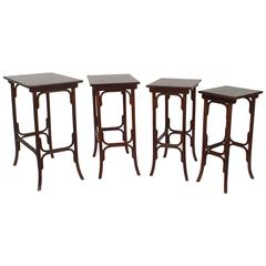 Austrian Bentwood Beechwood Stained Mahogany Nest of Four Tables