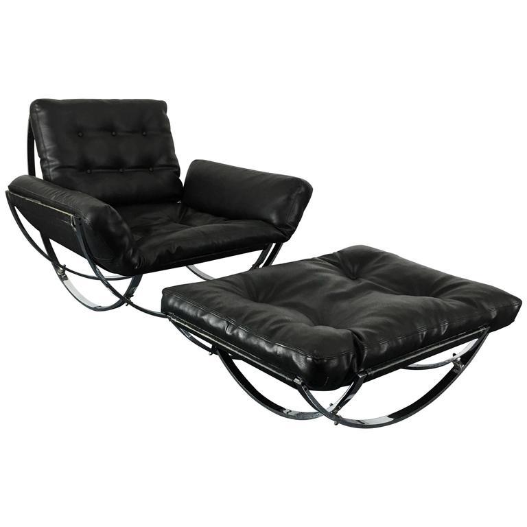 Mid Century Modern Sculptural Chrome Lounge Chair Ottoman