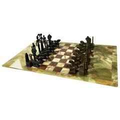 Unique Chess Set in the Style of Frededrick Weinberg on Oversized Onyx Board
