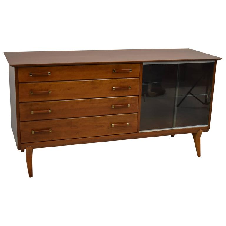 Mid-Century Modern Cherry Buffet Sideboard by Johnson Furniture Co.