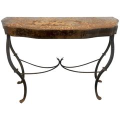 Wrought Iron French Console Table with Deep Patina
