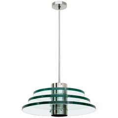 1980s Postmodern Triple Glass Disc Chandelier
