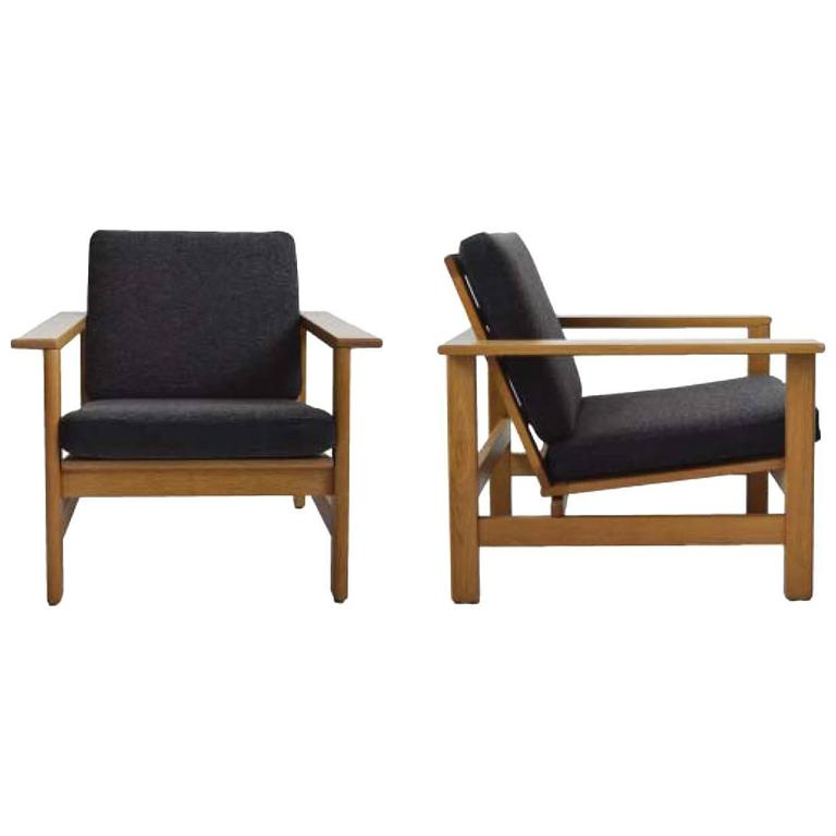 Pair of Wood Frame Soren Holst Lounge Chairs, Mid-Century, Danish