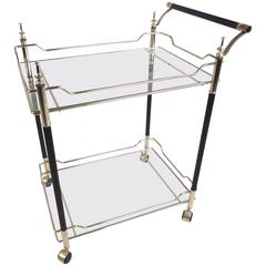 Mid-Century Italian Modern Brass and Glass Bar Cart