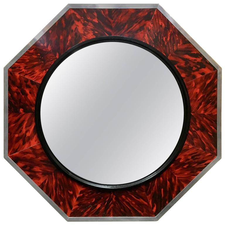 Massive Faux Tortoise Shell Concaved Mirror by Anthony Redmile, London For Sale