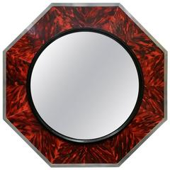 Massive Faux Tortoise Shell Concaved Mirror by Anthony Redmile, London