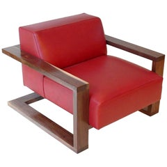 Caribou Lounge Chair in Red Leather with Walnut Hardwood Exposed Frame