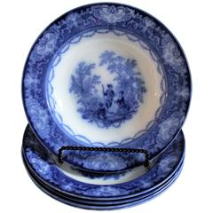 Large 19th Century Flo Blue Soup Bowls in Watteau Pattern or Doulton