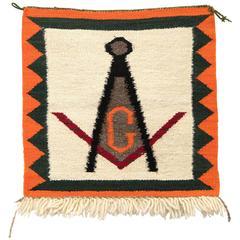 "Vintage Navajo Pictorial Sampler Weaving - "" Freemasonry"", circa 1920"