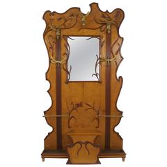 French Art Nouveau Walnut and Maple Hatrack with a Large Centre Mirror