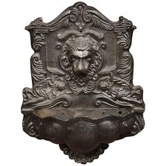 19th Century French Napoleon III Carved Iron Wall Fountain with Lion Head