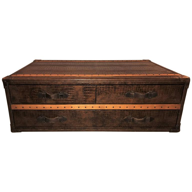 Leather Alligator Style Oak Trimmed Trunk Or Coffee Table For Sale At 1stdibs