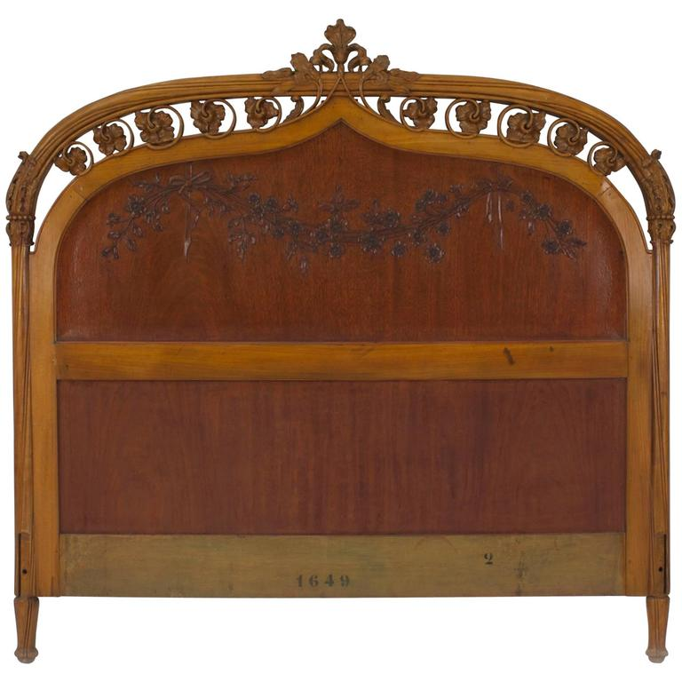 French Art Nouveau Maple Full Size Headboard For Sale At