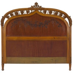 French Art Nouveau Maple Full Size Headboard