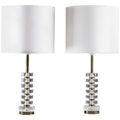 Pair of Swedish Crystal Glass Table Lamps by Carl Fagerlund for Orrefors