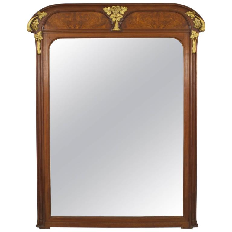 French art nouveau walnut beveled glass wall mirror by