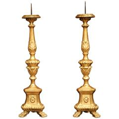 Pair of 19th Century Italian Carved Gold Leaf Prickets Candlesticks