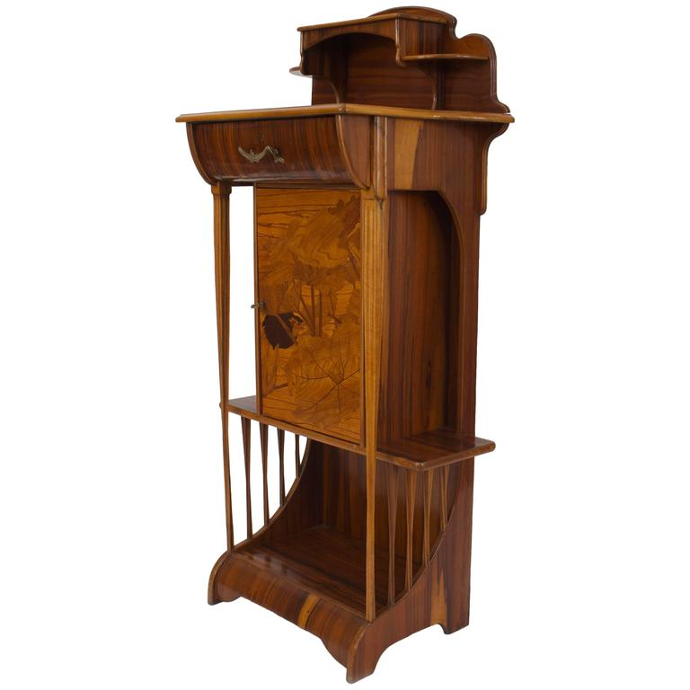 French Art Nouveau Rosewood Diminutive Narrow Cabinet by Majorelle
