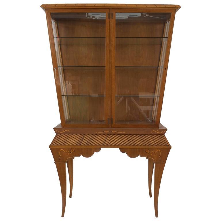 Scandinavian Mid Century Light Mahogany Display Or Vitrine Cabinet For Sale At 1stdibs