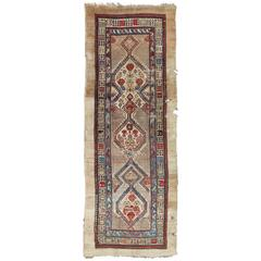Mid-19th Century Antique Serab Runner in Ivory, Blue and Red
