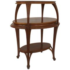 French Art Nouveau Walnut Oval Shaped Three-Tier Etagere Table