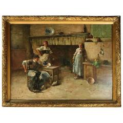 Monumental Antique Oil on Canvas Genre Painting by J.C. Arter, circa 1880