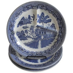 Set of Three 20th Century Blue Willow Separating Plates