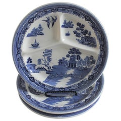 Set of Three Early 20th Century Blue Willow Separating Restaurant Plates