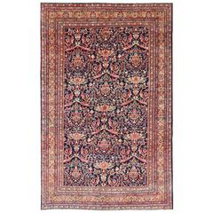 Persian Sultanabad Mahal Carpet with Large-Scale Flowers Set on Navy Blue Field