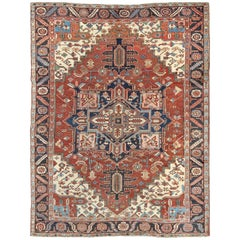 Early 20th Century Antique Persian Serapi Carpet with Stylized Geometric Motifs
