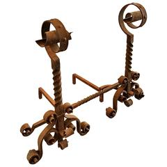 Antique Large Scale Scrolled Andirons