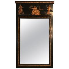 French Ebonized Neoclassical Style Wall or Console Mirror