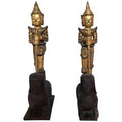 Pair of Antique Thai Figures