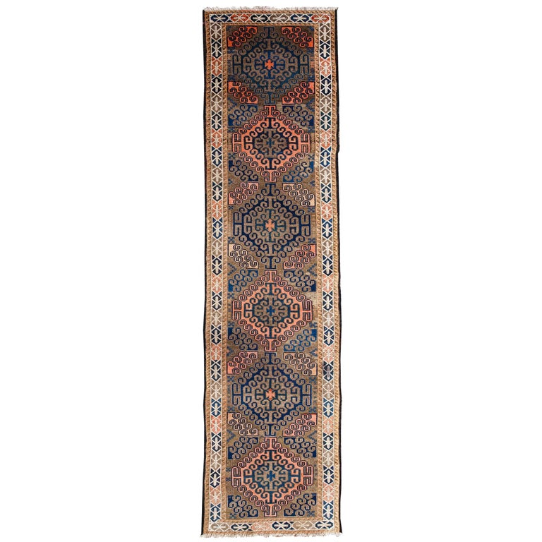 20th Century, Handwoven Baluch Runner from Afghanistan Wool and Goat Hair