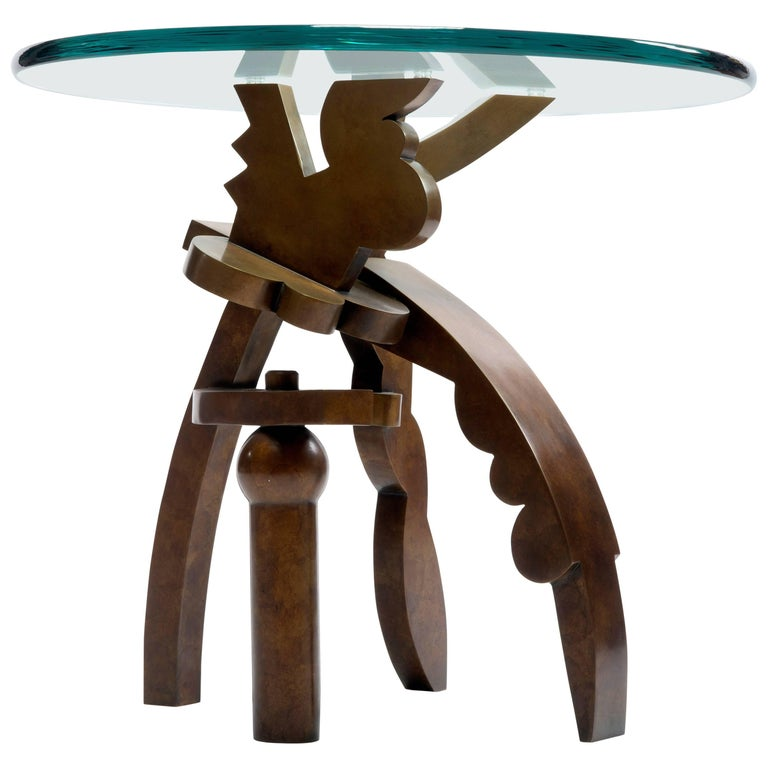 Contemporary Side Table in Bronze and Glass