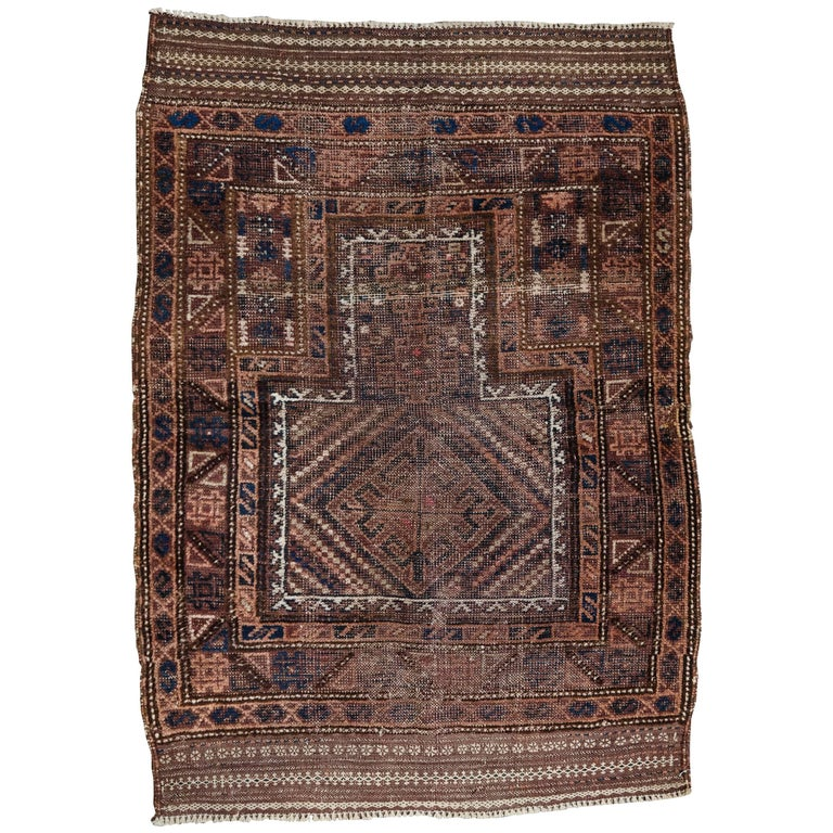 Early 20th Century, Handwoven Baluch Rug from Western Afganistan