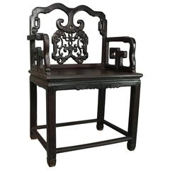 Antique Chinese Ebonized Carved Hardwood Throne Armchair, circa 1890