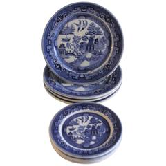 Buffalo Ironstone Blue Willow Luncheon Plates, Eight Pieces
