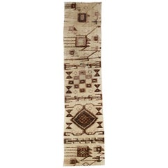 20th Century Hand-Knotted Flat-Weave and Raised Goat Hair Nomad Runner