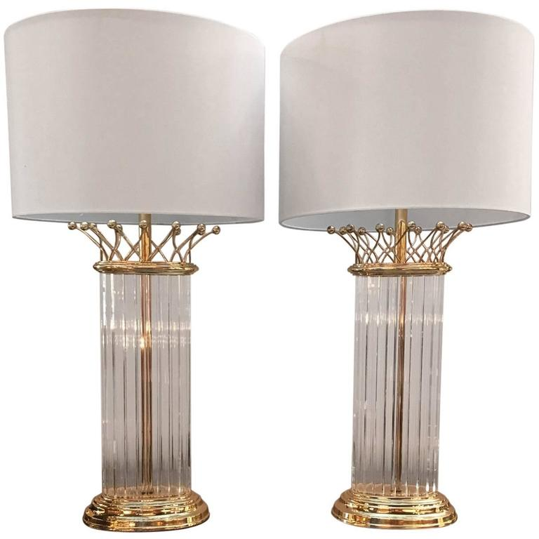 Chic Pair of Crystal Chapman Lamps