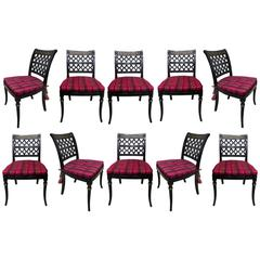 Ebonized Dining Chairs in the Directoire Style, Set of Ten
