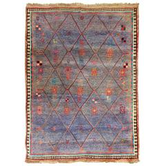 Vintage Persian Gabbeh Rug with Blue Field and Traditional Symbols, circa 1985