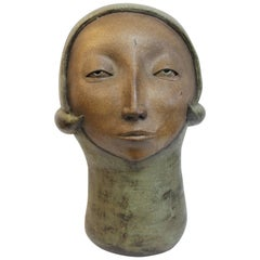Monumental Modernist Stoneware Sculpture of a Female Head